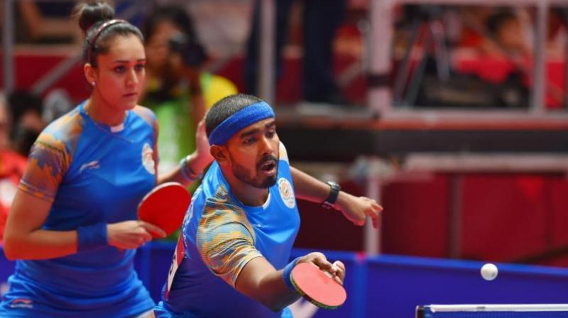 Mixed doubles partners Sharath Kamal and Manika batra. (Photo: PTI)