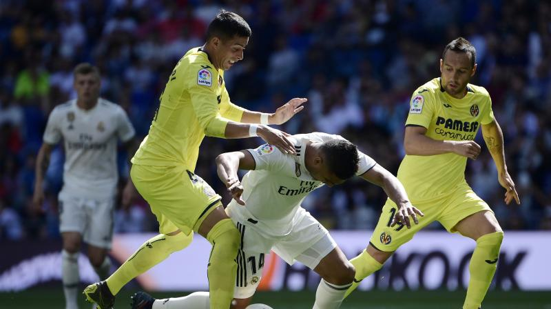 Villarreal hit back in the 11th when Gerard Moreno slammed the ball inside the near post from outside the area after Real midfielder Casemiro was dispossessed. (Photo: AP)