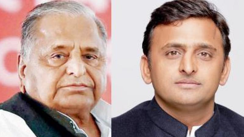 Mulayam Singh Yadav and Uttar Pradesh Chief Minister Akhilesh Yadav