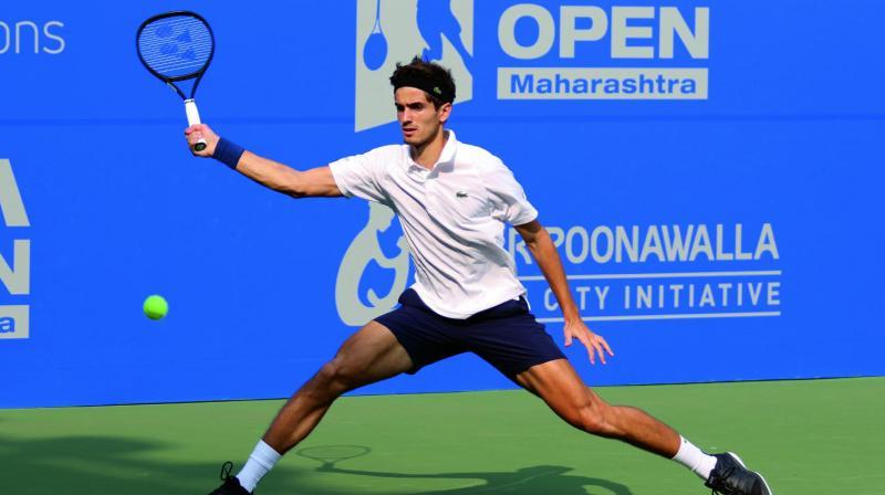 France's Pierre-Hugues Herbert in action against Yuki Bhambri in their Tata Open Maharashtra second round match at the Mhalunge Balewadi Stadium in Pune on Wednesday. Herbert won 4-6, 6-3, 6-4.