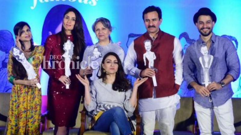Soha Ali Khan launched her book with the family on Tuesday.
