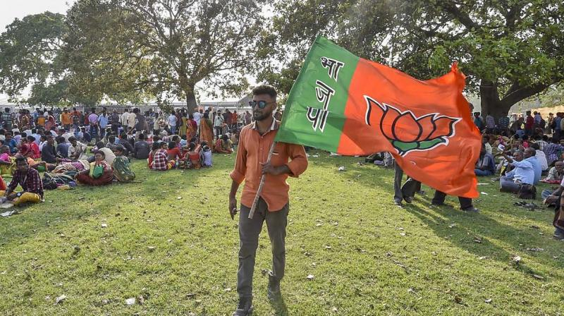 A BJP supporter holds a party flag during Prime Minister Narendra Modi's public rally ahead of Lok Sabha elections, in Kolkata, Wednesday. (Photo: PTI)
