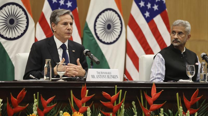 U.S. Secretary of State Antony Blinken with Indian Foreign Minister Subrahmanyam Jaishankar during a joint news conference in New Delhi. (Photo: AP)