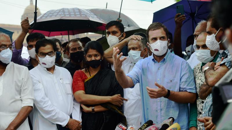 Congress leader Rahul Gandhi with leaders of Opposition Parties address media on the issue of the Pegasus Project, in New Delhi, Wednesday, July 28, 2021. (PTI Photo)