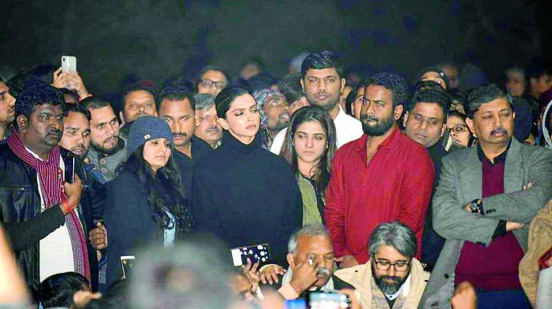 Actor Deepika Padukone had made an unannounced visit to the JNU campus in the night last Sunday, where she greeted the injured students and stood with them in solidarity.  (Photo: STR/AFP)