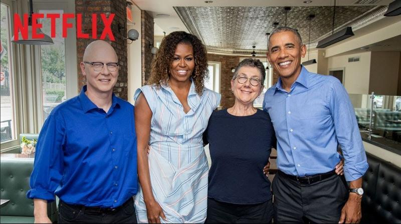 (Left) Michelle and Barack Obama with the directors of the documentary American Factor, which they produced; (above) Hillary and her daughter Chelsea Clinton have formed a film and TV company to produce female-centric content