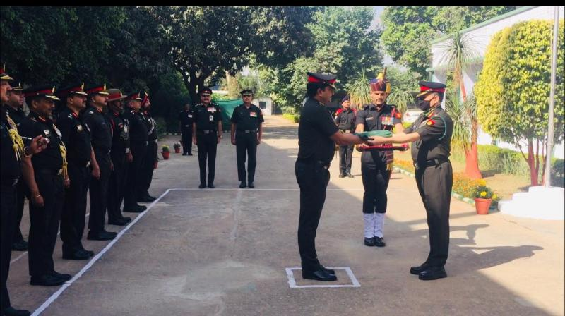 A flag ceremony was held to officially close down the military farms records in Delhi Cantonment Grounds. —  By arrangement