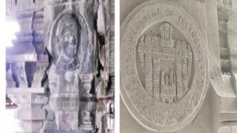 Subhash, state co-convenor, Bajarang Dal said: 'Chief Minister Rao's picture, TRS party symbol car and government initiative pictures have been carved on the pillars of historic Yadadri Lord Lakshmi Narasimha Swamy temple under the pretext of re-construction and development of the temple.' (Photo: ANI)