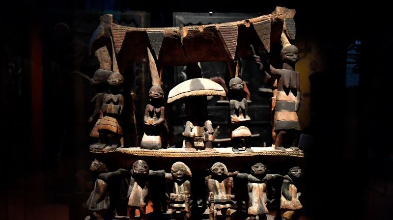 Royal Seat of the Kingdom of Dahomey from the early 19th century is pictured, on June 18, 2018 at the Quai Branly Museum-Jacques Chirac in Paris. (Photo: AFP)