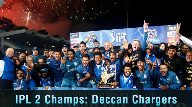 The Deccan Charges team of 2008 celebrates its victory in the final of the Indian Premier League (IPL)