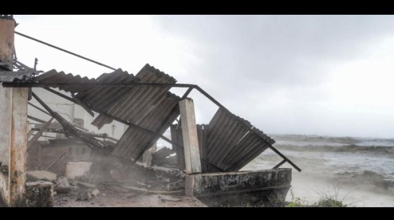 Damaged roof of a structure due to heavy winds as Cyclone Tauktae forms in the Arabian Sea. (Photo: PTI)