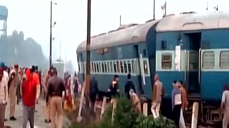 Image result for 13 injured as train derails near Kanpur