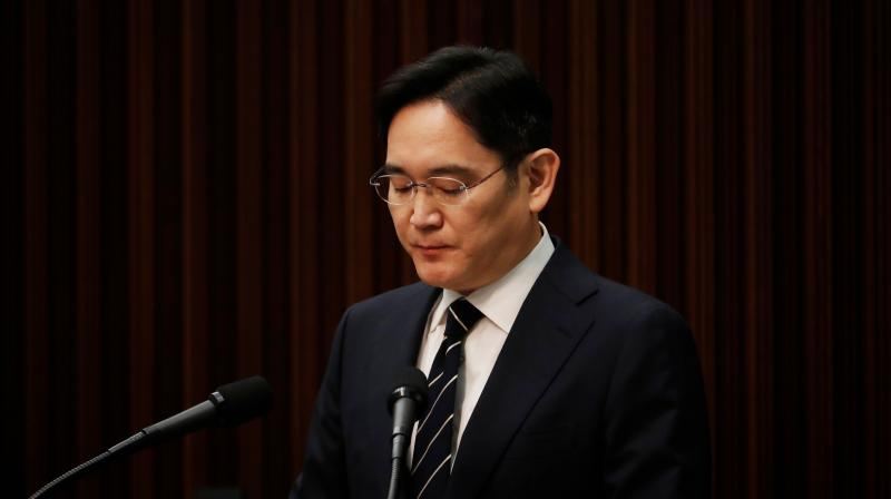 "Samsung Electronics vice-chairman Lee Jae-yong said he would not allow his children to succeed him at the firm. ""I will make sure that there will be no more controversy over the succession of management,"" Lee said during a news conference at the company's office building in Seoul, South Korea, May 6, 2020. He added: ""I will never take any actions that go against the law."" (Photo 