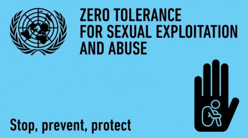 A United Nations campaign image on stopping sexual abuse.