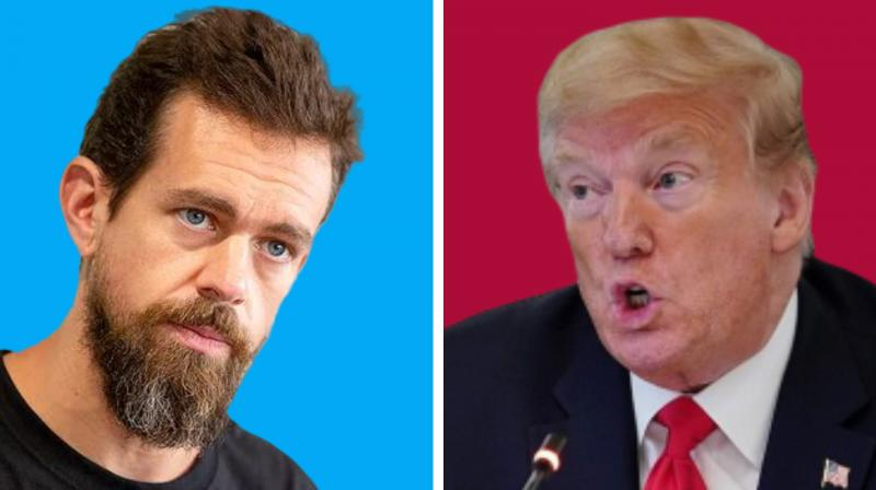 "Twitter CEO Jack Dorsey and President Donald Trump are seen in this combination picture. The President's draft executive order was expected to argue that actions like Twitter's fact check labeling meant they should lose the protections of being a ""platform."" The order was also expected to try to hold back federal advertising dollars from Twitter and other social media companies that ""violate free speech principles"