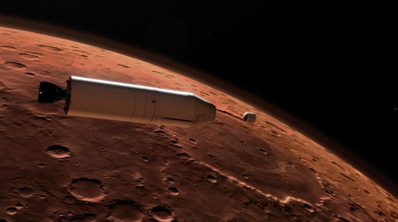 An artist's concept of a Mars Ascent Vehicle (left) releasing a sample container (right) high above the Martian surface. The UAE has a goal of building a human settlement on Mars by 2117. The Mars probe project, beyond scientific goals, is also designed to inspire a region too often beset by turmoil, and recall the heyday of scientific advances during the Middle Ages. (Representative Image | NASA)