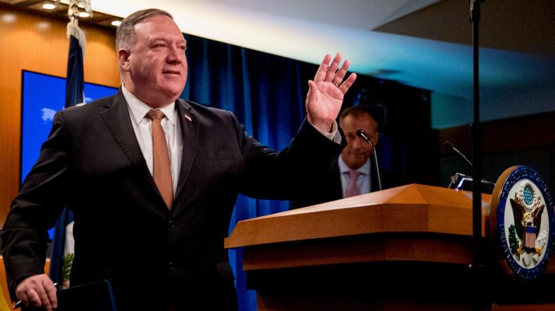 The US has led a worldwide campaign to convince foreign governments, particularly those in allied nations, to bar Huawei from their advanced telecommunications networks, arguing that allowing it into those systems would lead to violations of their citizens' privacy. In this picture, Secretary of State Mike Pompeo waves as he leaves a news conference at the State Department in Washington, DC on July 15, 2020. (Photo | AFP)