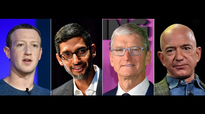 Pressure has been growing both from the right and the left—and sometimes internally—to do something about the overwhelming dominance of the internet platforms. In this photo, Mark Zuckerberg, Sundar Pichai, Tim Cook and Jeff Bezos. The four CEOs on Wednesday attended an antitrust hearing of the US House Judiciary Committee. (Photo | AFP)