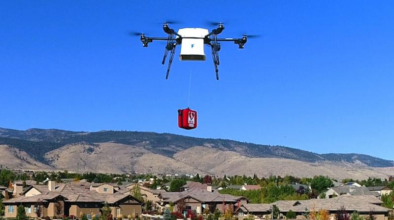 Back in December 2013, Amazon CEO and founder Jeff Bezos said in a TV interview that drones would be flying to customer's homes within five years. Last year, Amazon unveiled self-piloting drones that are fully electric, can carry 5 pounds of goods and are designed to deliver items in 30 minutes by dropping them in a backyard. (Representative Image | Wikimedia Commons - Mollyrose89)