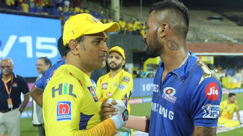 In this photograph, Chennai Super Kings Skipper MS Dhoni and Mumbai Indians' Hardik Pandya after the qualifier 1 match of IPL Season 12 at MA Chidambaram Stadium in Chennai on May 7, 2019 (Photo | Sportzpics for BCCI - Sandeep Shetty)
