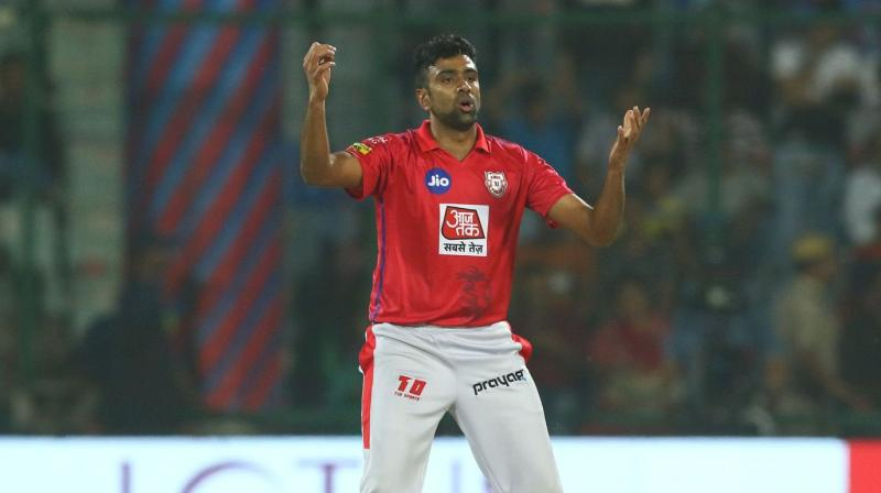 Brought in during the final Powerplay over, Ashwin first got rid of Karun Nair and then bowled Nicholas Pooran through the gate but a needless dive to stop a single off the last delivery saw him land awkwardly on his left arm with shoulder taking the jerk. (Photo | ipl20.com)