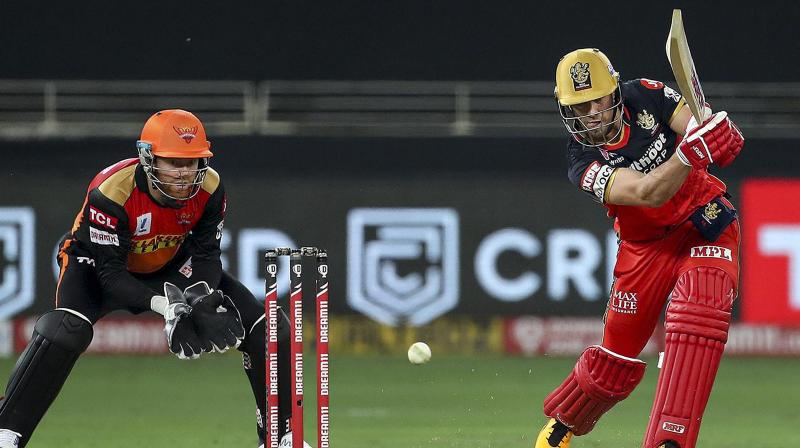 Royal Challengers Bangalore batsman AB de Villiers plays during a cricket match of IPL 2020 against Sunrisers Hyderabad, at Dubai International Cricket Stadium, Dubai, United Arab Emirates, Monday, Sept. 21, 2020. It was being speculated that De Villiers will come out of his retirement to play for South Africa in the T20 World Cup but the tournament, which was to be hosted by Australia this year, was postponed due to COVID-19 pandemic. (Photo | PTI)