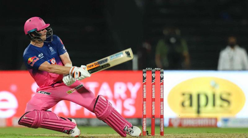 CSK could score only 200 for 6 with Faf du Plessis scoring 72 off 37 ball with the help of seven sixes. Mahendra Singh Dhoni scored 29 off 17 balls but it was the Royals' Rahul Tewatia's leg breaks that caused a lot of damage to the top order. Tewatia took 3 for 37 in his four overs while Archer bowled a brilliant 19th over to seal the match. In this photo, Rajasthan Royals captain Steve Smith plays a shot during IPL 2020 cricket match against Chennai Super Kings, at Sharjah Cricket Stadium, in Sharjah of United Arab Emirates, Tuesday, Sept. 22, 2020. (Photo | PTI)