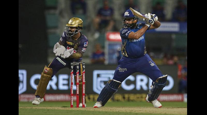 Rohit got going after smashing pacer Pat Cummins (0/49) for two sixes, both his trademark pull-shots. (Photo | PTI)