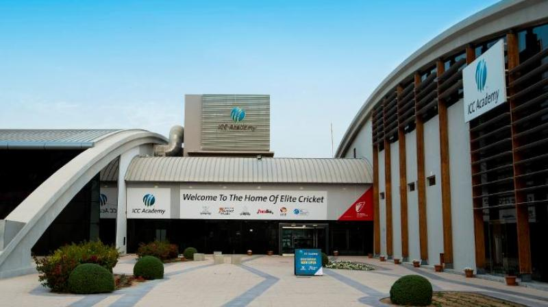 ICC Academy is a cricket centre located next to the ICC headquarters in the heart of Dubai Sports City, the website icc-cricket.com, where this photograph is featured, says.