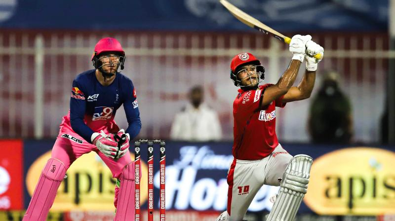 Mayank Agarwal hit 10 fours and seven sixes during his magnificent 50-ball knock making a 106. (Photo | PTI)