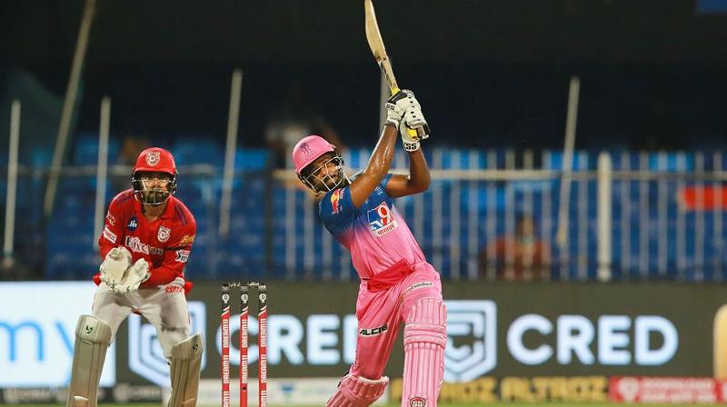 The Rajasthan Royals had spirit, and took the challenge of the highest-ever IPL run chase head on to soar above Kings XI Punjab. Sanju Samson scored a 42-ball 85 studded with seven sixes and four boundaries. (Photo | PTI)