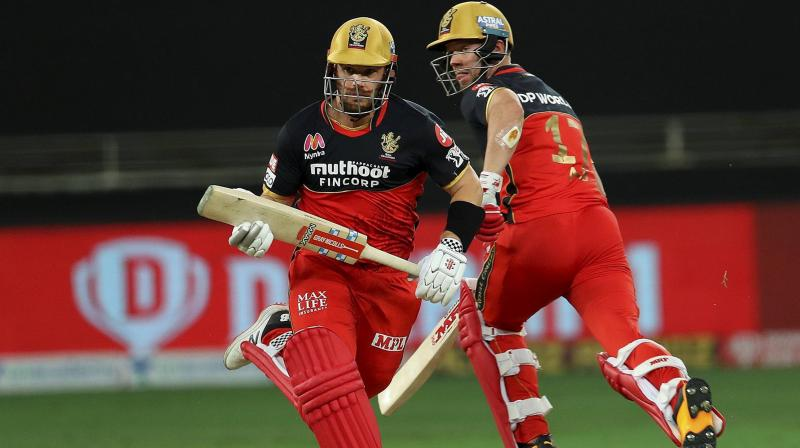 AB de Villiers turned the clock back with his magnificent hitting in the death overs, after Australia's white ball skipper Aaron Finch scored 52 off 35 balls to get his team off to a flying start, and the elegant Padikkal upped the ante in the later half with some delightful big hits, scoring 54 off 40 balls. (Photo | PTI)