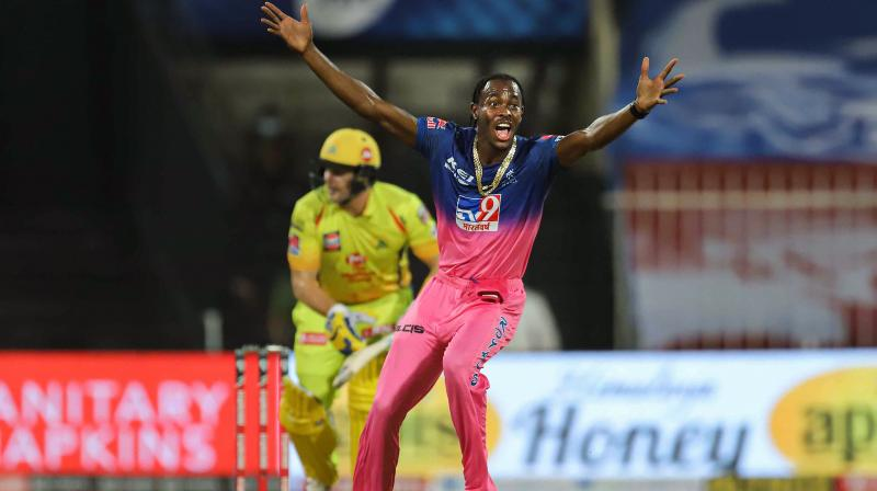 Archer (2/18) hit the deck hard and clocked the fastest delivery of the tournament (152.1 kph) in a fiery spell, taking two key wickets of KKR — opener Shubman Gill (47 from 34 balls) and skipper Dinesh Karthik (1) — after the Royals opted to field. In this photo from the September 22, 2020, Archer appeals during the IPL 2020 cricket match against a Chennai Super Kings batsman, at Sharjah Cricket Stadium, in Sharjah, United Arab Emirates. (Photo | PTI)