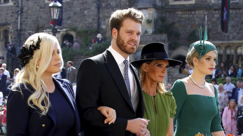 From left, Eliza Spencer, Louis Spencer, Victoria Aitken and Kitty Spencer arrive for the wedding ceremony of Prince Harry and Meghan Markle at St. George's Chapel in Windsor Castle in Windsor. (Photo: AP)