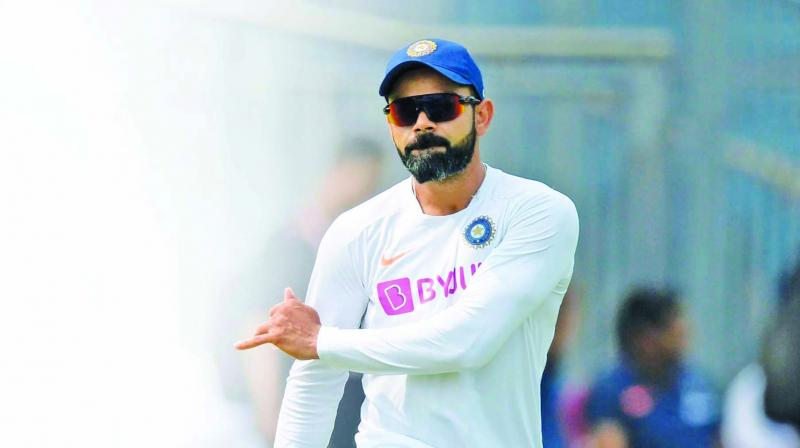 Virat Kohli during a  training session in Pune ahead of the second Test against South Africa. (Photo: AFP)