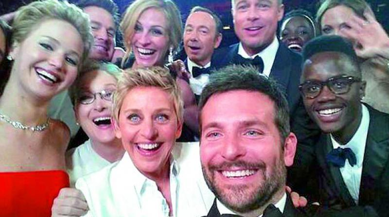 Famous Selfie: Ellen DeGeneres tweeted an image of selfie with Bollywood superstars taken at 2014 Oscar awards.