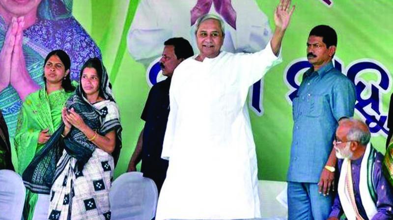 A file photo of Odisha chief minister and BJD president Naveen Patnaik at a farmer's rally.