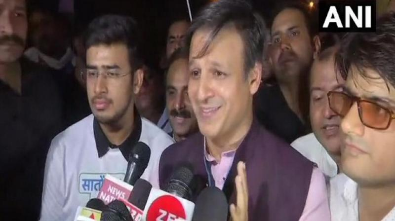 Vivek was in the national capital to take part in BJP's 'Saaton Seetein Modi Ko' campaign at the India Gate. (Photo: ANI)