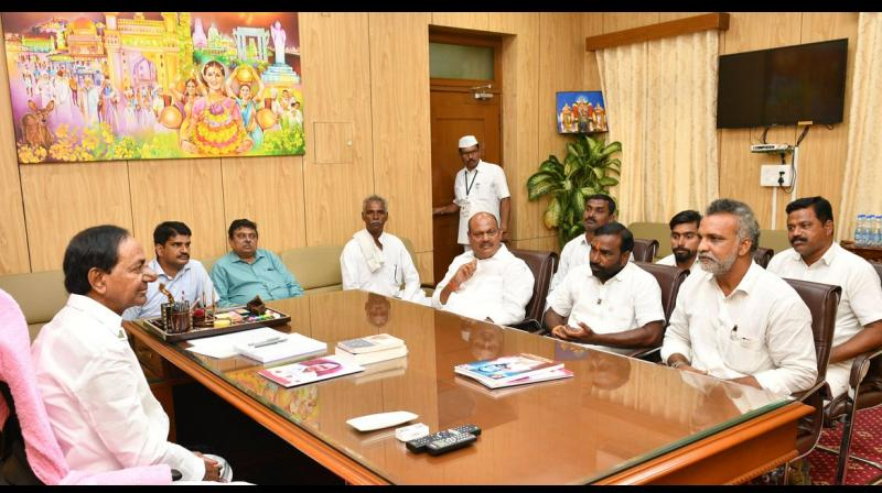 The leaders met Telangana Chief Minister K Chandrashekhar Rao and sought his support for their agitation. They even said they were ready to contest from Telangana Rashtriya Samiti (TRS) tickets, if allotted. (Photo: Twitter | @TelanganaCMO)
