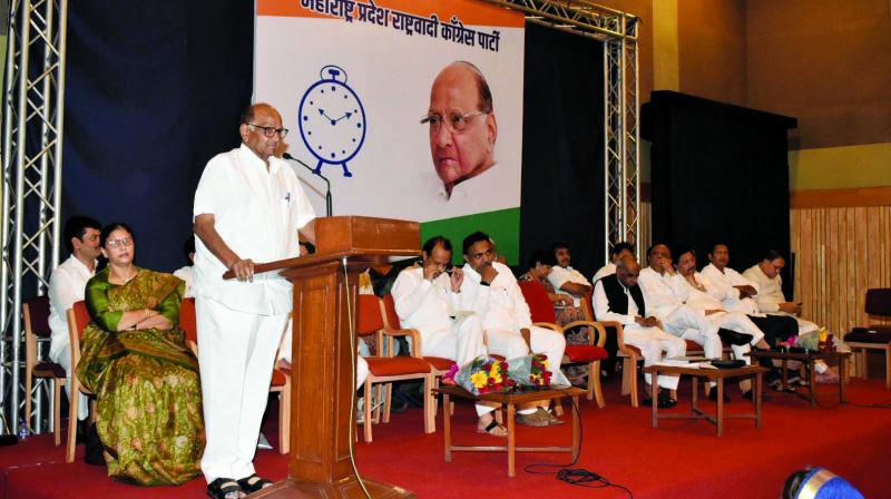 NCP president Sharad Pawar speaks during a meeting held at Y.B. Chavan Centre on Saturday. (Photo:AA)