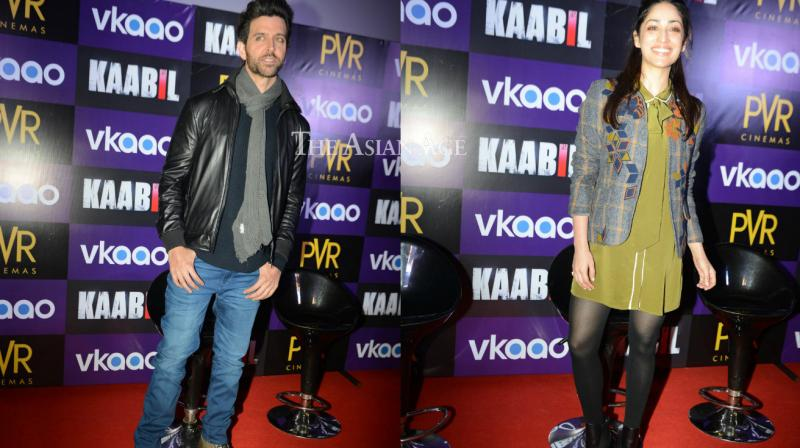 Hrithik Roshan and Yami Gautam geared up for the release of their film 'Kaabil' by promoting film in Delhi. (Photo: Viral Bhayani)