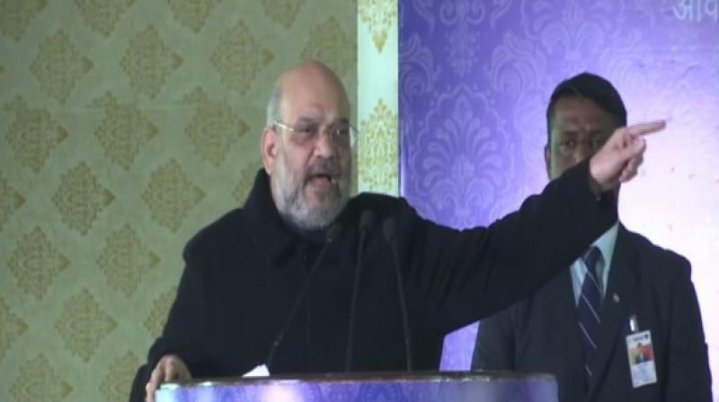 Union Home Minister Amit Shah ddressing a gathering. (Photo: ANI)