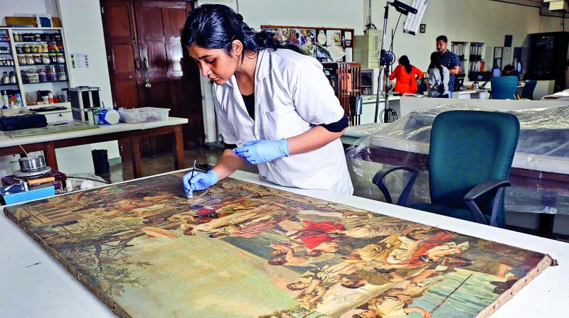 Madniya Mozawala working on Phryne in Eleusis