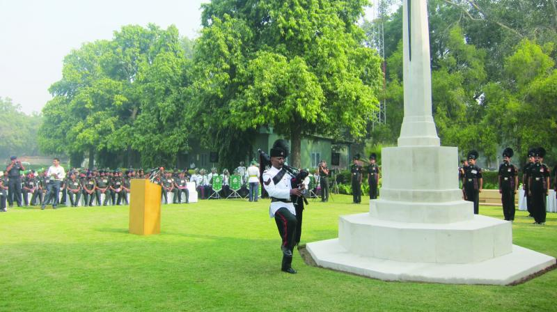 A piper from the Indian Army's Rajputana Rifles at the Delhi War Cemetary. (Photo: Anil Bhat)