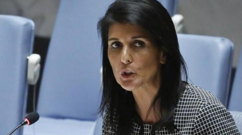 US Ambassador to the UN Nikki Haley, addresses a Security Council meeting of the United Nations. (Photo: PTI)