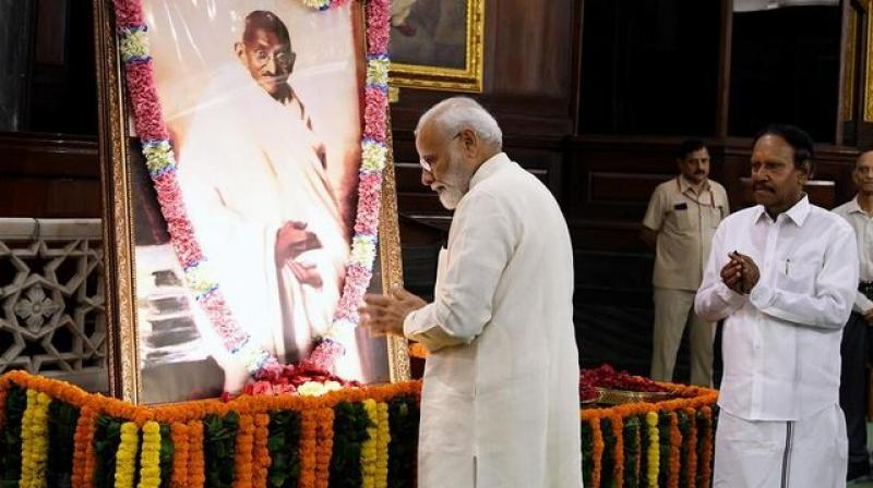 PM Modi said Gandhi offers solutions to every problem. 'In Gandhi, we have the best teacher to guide us,' he wrote. (Photo: ANI)