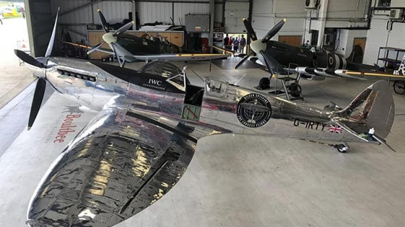 The restored plane fought in World War II but has been de-militarised, stripped of its guns and paintwork to reveal the shining, silvery metal underneath. (Photo: Twitter/ LongestFlight)