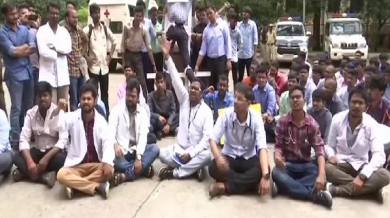 Doctors on Monday held a protest against the National Medical Commission (NMC) Bill, 2019 here. (Photo: ANI)