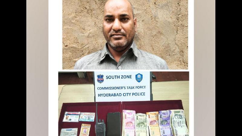 Hyderabad Police have nabbed a 43-year-old man for posing as a police officer with the help of fake ID cards and cheating people on the pretext of offering them a job in the police department. (Photo: ANI)