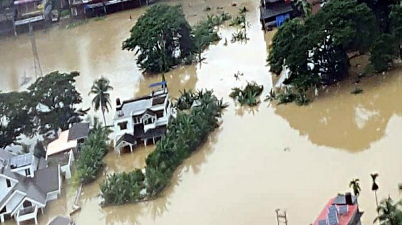 Even as floodwaters have started to recede in several districts of Kerala, the death toll in the state rose on Monday to 121, according to a data of the Kerala State Disaster Management Authority (KSDMA). (Photo: ANI)